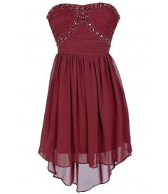 Beads of Light Embellished High Low Dress in Burgundy $42.00