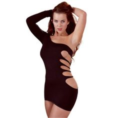 Black Mini Cut Out Dress!  WOW!! This is one sexy number with one sleeve and cut out design.  Black mini dress with one decorative shoulder strap so one shoulder stays free. Polyester.  You will turn all heads wearing this number from Girl on Girl Toys!    http://www.girlongirltoys.co.uk/Clothes-Cottelli-Collection/c398_413/p1706/Black-Mini-Cut-Out-Dress-One-Sleeve-One-Size/product_info.html