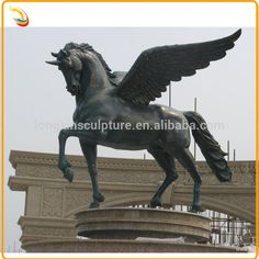 Golden Color Life Size Bronze Horse With Wings Sculpture Golden Horse Statue…