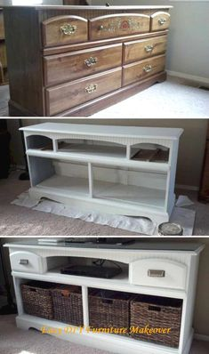TV Stand Makeover: Turn an old wooden dresser into this gorgeous TV stand with s. - TV Stand Makeover: Turn an old wooden dresser into this gorgeous TV stand with some white paints an - Diy Furniture Hacks, Living Furniture, New Furniture, Furniture Projects, Furniture Makeover, Bedroom Furniture, Cream Furniture, Diy Projects, Diy Bedroom