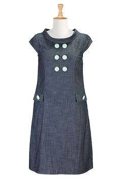 #eshakti #cowlcollar #shiftdress #chambray #denim #indigo #blue #capsleeves #daydress #mint #aqua #spring #summer #nautical #vacation #casualdress