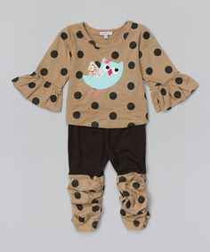 This Little Dreamers by Victoria Kids Beige & Black Polka Dot Owl Tee & Leggings - Infant & Toddler by Little Dreamers by Victoria Kids is perfect! #zulilyfinds