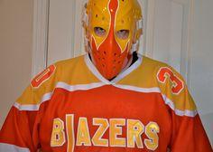 Bernie Parent Blazers mask Philadelphia Blazers 1971-1972 Hockey Goalie, Hockey Teams, Ice Hockey, Bernie Parent, Hockey Room, Philadelphia Sports, Goalie Mask, Best Masks, Masked Man