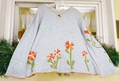 J Jill Floral Applique Wool Blend Sweater XL Heather Gray Coral Peach #JJill #Keyhole