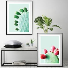 This wall art print set of the prickly pear cactus plants look good enough to eat! With saturated colours on a pale mint background they're sure to take pride