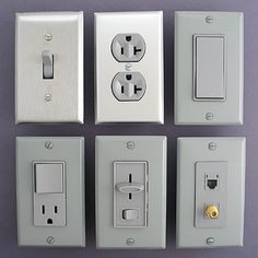 Gray Electrical Light Switches, Toggles, Outlets, Dimmers