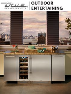 """Bring the home bar experience outdoors. A TRUE 15"""" Wine Cabinet and 24"""" Refrigerator give you all the libation storage needed for yourself and guests."""