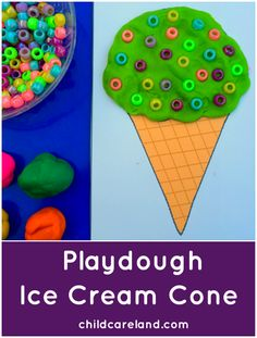 Playdough Ice Cream Cones .. for fine motor and sensory play.
