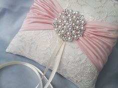 Blush Pink Ring Bearer Pillow Ivory Lace Ring Pillow by Allofyou  www.allofyou.etsy.com