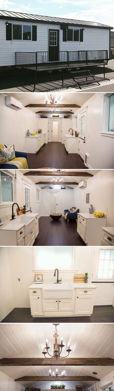 The English Rose is a custom 10' wide tiny house featuring a main level bedroom with full closet, chandelier lighting, and two large kitchen pantries.