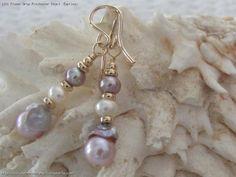 Flower Drop Freshwater Pearl  Earrings