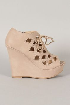 IN-20 Cut Out Lace Up Platform Wedge Bootie