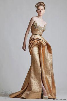 krikor jabotian 2012 2013 copper color wedding dress illusion neckline -- Krikor Jabotian Wedding Dresses