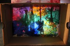Wax resist Shadow Box Puppet Theater - use shadow puppets to act out a book Shoe Box Art, Shadow Theatre, Melting Crayons, Wax Crayons, Shadow Puppets, Creative Play, Creative Ideas, Art Plastique, Elementary Art