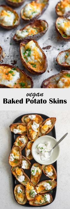 Homemade vegan baked potato skins are the perfect easy appetizer that are also gluten free! A salty and addictively crispy potatoey base piled with vegan cheddar, creamy mashed potatoes, green onions and sour cream. Potato Skins Appetizer, Potatoe Skins Recipe, Potato Appetizers, Appetizer Recipes, Vegan Apps, Vegan Foods, Vegan Snacks, Vegetable Recipes, Vegetarian Recipes