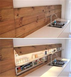40 Inspiring Hidden Storage Design Ideas - Home Design Hidden Kitchen, Kitchen Wood, Island Kitchen, Kitchen Cabinets, Life Kitchen, Smart Kitchen, Awesome Kitchen, Kitchen Sink, Kitchen Ideas