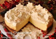 Eggnog Cheesecake Recipe- Cheesecake and Egg Nog, two of my favorite things!