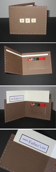 The wallet card I made for Father's Day, I was inspired by Little Leaf Lane. I made a few changes including hand stitching the edges with thread and I used the little pocket to put the In-N-Out gift card I got my Dad (yummy!). Made June 2012.