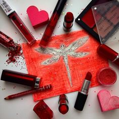 Red Freedom system Mac inglot lipstick Kyliecosmetic kylie dragonfly heart  valentines day  Love beauty cosmetics collage maybelline relouis