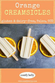 ORANGE CREAMSICLES These healthy treats taste like sunshine! Homemade popsicles are one of my favorite summer snacks. My recipe calls for coconut milk, but feel free to experiment with heavy cream or even vanilla ice cream! Home Made Popsicles Healthy, Homemade Fruit Popsicles, Healthy Popsicle Recipes, Homemade Ice, Orange Recipes Healthy, Homemade Breads, Orange Cream Popsicles, Coconut Milk Popsicles, Sugar Free Popsicles