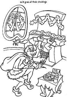Grinch coloring pages for Allison's kindergarten class