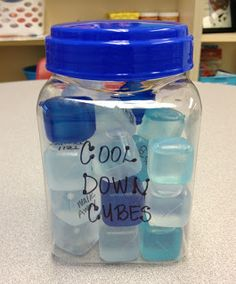 "Cool Down Cubes - great for students who have difficulty with anger. Using a permanent marker, write a safe ""cool down"" strategy on each ice cube. For example: count to ten, walk away, talk to a friend, take three deep breaths, etc. I also left a few of the cubes blank so that the students could come up with their own strategies."