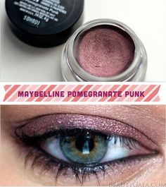 "Maybelline Color Tattoo Eyeshadow, ""Pomegranate Punk,"" Photographs, Swatches Look~ I bought this color, but have not tried it yet. Beauty Makeup, Eye Makeup, Hair Beauty, Hair Makeup, Makeup Swatches, Drugstore Makeup, Maybelline Color Tattoo, Cream Eyeshadow, Maquillaje"
