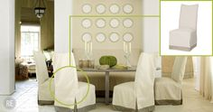 This @Lee Semel Industries slipcover chair really pulls this space together-see the full article here: http://www.restylesource.com/inspiration/Home-Design/Dining-Rooms/Rosemary-Beach-Dining-Room/579/