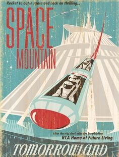 Giclee Printed Space Mountain Attraction Poster by faisonstout