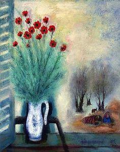 Reuven Rubin(Israeli 1893ー1974)「Bouquet of Flowers with Landscape」(c.1960)