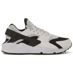 Sneaker Air Huarache Bianche E Nere ($116) ❤ liked on Polyvore featuring men's fashion, men's shoes, men's sneakers, bianco, menshoessneakers, nike mens sneakers and nike mens shoes