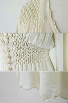 vintage wedding dress // Antique White Silk Chiffon Wedding Dress Robe with Floral Embroidery Smocking Tutorial, Smocking Patterns, Sewing Patterns, Punto Smok, Canadian Smocking, Pleated Fabric, Diy Couture, Heirloom Sewing, Fabric Manipulation