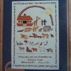 Linen Cross Stitch Kit The Noah's Ark Sampler by Designer Susan L. Coyle  #CreativeDesigners