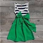 Stripped tank top. Sew on a fabric bottom. Create a fabric bow and sew it on the side.