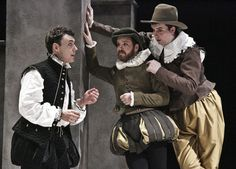 John Skelley, Grant Fletcher Prewitt, and Ian Gould in Hamlet. They recreate this exact same stage picture in Rosencrantz and Guildenstern Are Dead. Both shows are playing in repertory productions from The Acting Company.