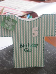 Hand cut t-shirt/top card - any colour, age and or/design can be made
