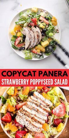 Fresh Salad Recipes, Salad Recipes For Dinner, Salad Dressing Recipes, Dinner Salads, Healthy Salad Recipes, Main Dish Salads, Salad Dressings, Panera Strawberry Poppyseed Salad, Strawberry Chicken Salads