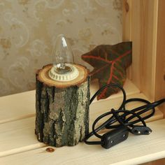 Oak Wood Table Lamp .... want to give this a try for the bases for my gourd trees
