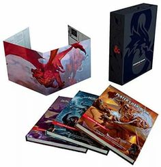 An excellent gift idea for beginner's or collectors, this D&D rule books gift set makes a wonderful present. This edition includes special foil covers with a slipcase and a DM screen. Each book is hardcover and includes 'The Player's Handbook, 'Dungeon Master's Guide', and 'Monster Manual'. Dungeons And Dragons, Dungeon Master Screen, Dm Screen, Player's Handbook, Dungeon Master's Guide, Dragon Rpg, The Ultimate Gift, Penguin Random House, Wizards Of The Coast