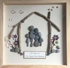 New Home gift Personalised Pebble Art unique gift made to Tree Of Life Painting, Family Painting, Rock Painting, Theme Nature, Rock Family, Family Tree Art, Pebble Art Family, Simple Wall Art, Pebble Pictures