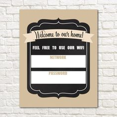 Wifi Password Printable // INSTANT DOWNLOAD // Free Wifi Password // Password Sign // Wifi Password Sign // 8x10 // Beige // Digital File by EensyAva on Etsy