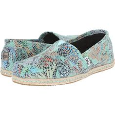 TOMS Leather Classics Blue Leather Printed Mosaic - Zappos.com Free Shipping BOTH Ways