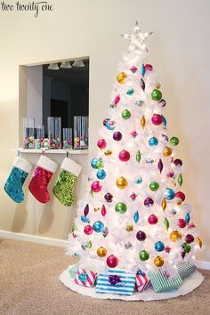 White Christmas tree with colorful ornaments