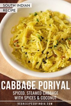 Cabbage Poriyal Recipe with step by step photos. Cabbage Poriyal is a lightly spiced, sauteed and steamed cabbage recipe from South India. South Indian Vegetarian Recipes, Vegetarian Curry, South Indian Food, Indian Food Recipes, Ethnic Recipes, Cabbage Vegetable, Vegetable Curry, Vegetable Dishes, Vegetable Recipes