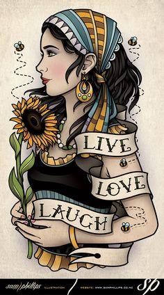 Bumble Bee Sun Flower Gypsy Tattoo by Sam-Phillips-NZ.deviantart.com on @deviantART