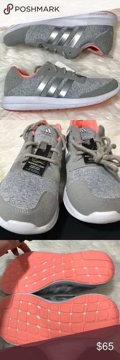 Adidas Element Refresh Running Shoes 7.5, 9.5, 10 These are brand new in box!  Grey with silver stripes. White outersole. Coral bottom and lining. Laces are gray with coral accent. 7.5, 9.5, and size 10 available!! Adidas Shoes Athletic Shoes