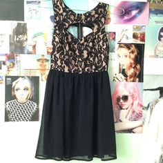 Black Lace Dress Bought from Love Culture// size small // only worn once// open back// there is also an opening above the chest Love Culture Dresses