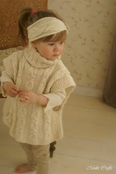 KNITTING PATTERN poncho Robyn and headband with braided cables (toddler, child…