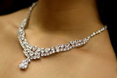 Bridal Necklace Earrings Set Statment Necklace Bib by simplychic93