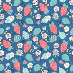 Field Berries Pattern Design by Svetlana Bataenkova at patterndesigns.com Vector Pattern, Pattern Design, Floral Artwork, Surface Design, Berries, Tasty, Patterns, Art Floral, Block Prints